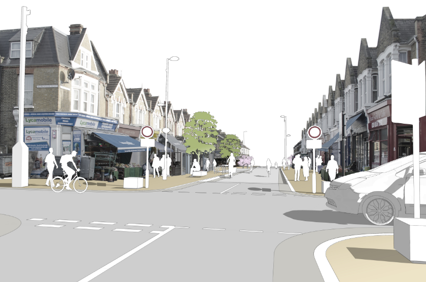 Concept illustration - pedestrian and cycle priority street