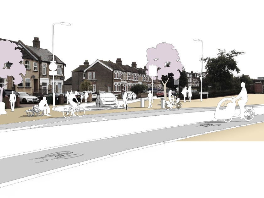 Concept illustration - cycle lanes and a 'Copenhagen' style blended crossing