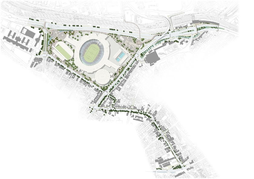 Proposed masterplan of the stadium and connecting streets