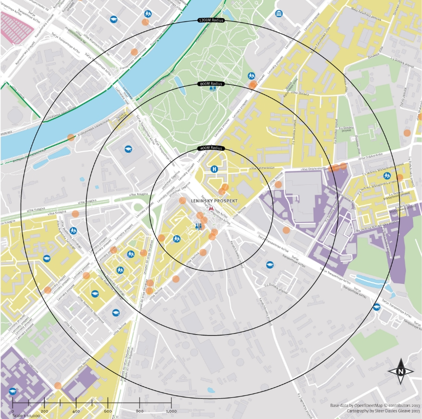 Analysis of urban form within 1.2km walking catchment around metro station