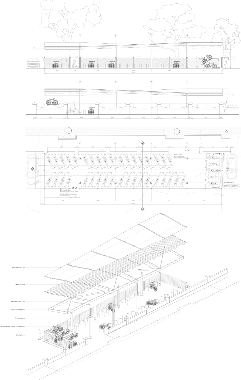 Technical drawings and exploded axonometric view