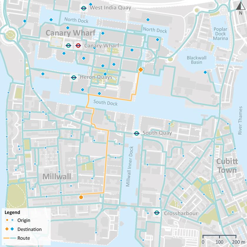 Origin to destination walking routes via South Dock
