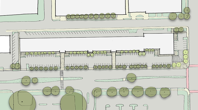 Concept sketch showing improved accessibility for pedestrians to the strip mall