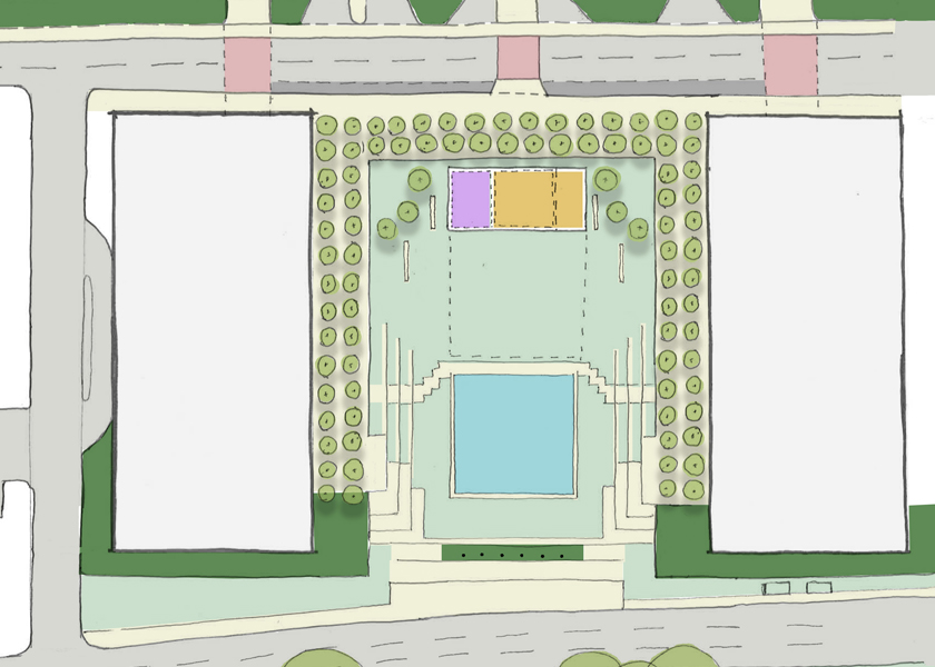 Proposed bike-hub pavilion in Greenway Plaza