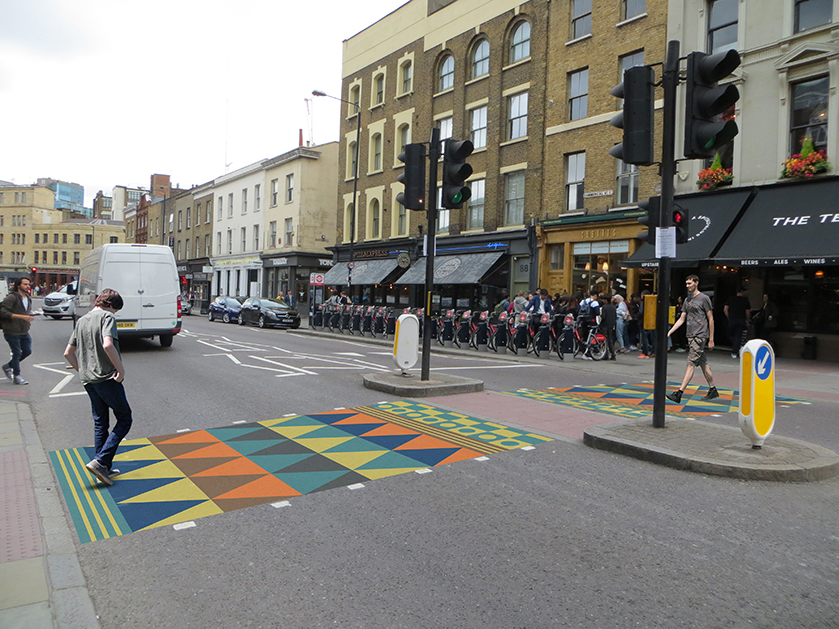 Painted crossing along key routes leading to Brick Lane, building on cultural and historical heritage & traditions of the local area. The crossing acts as a visible gateway into Brick Lane reinforcing its sense of identity.