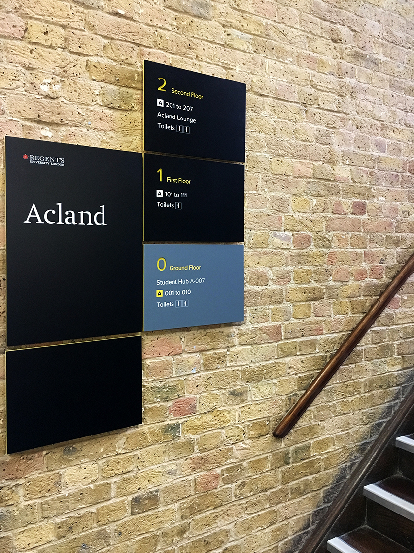 Modular A4, A3 and A2 panels make up the wayfinding signage system