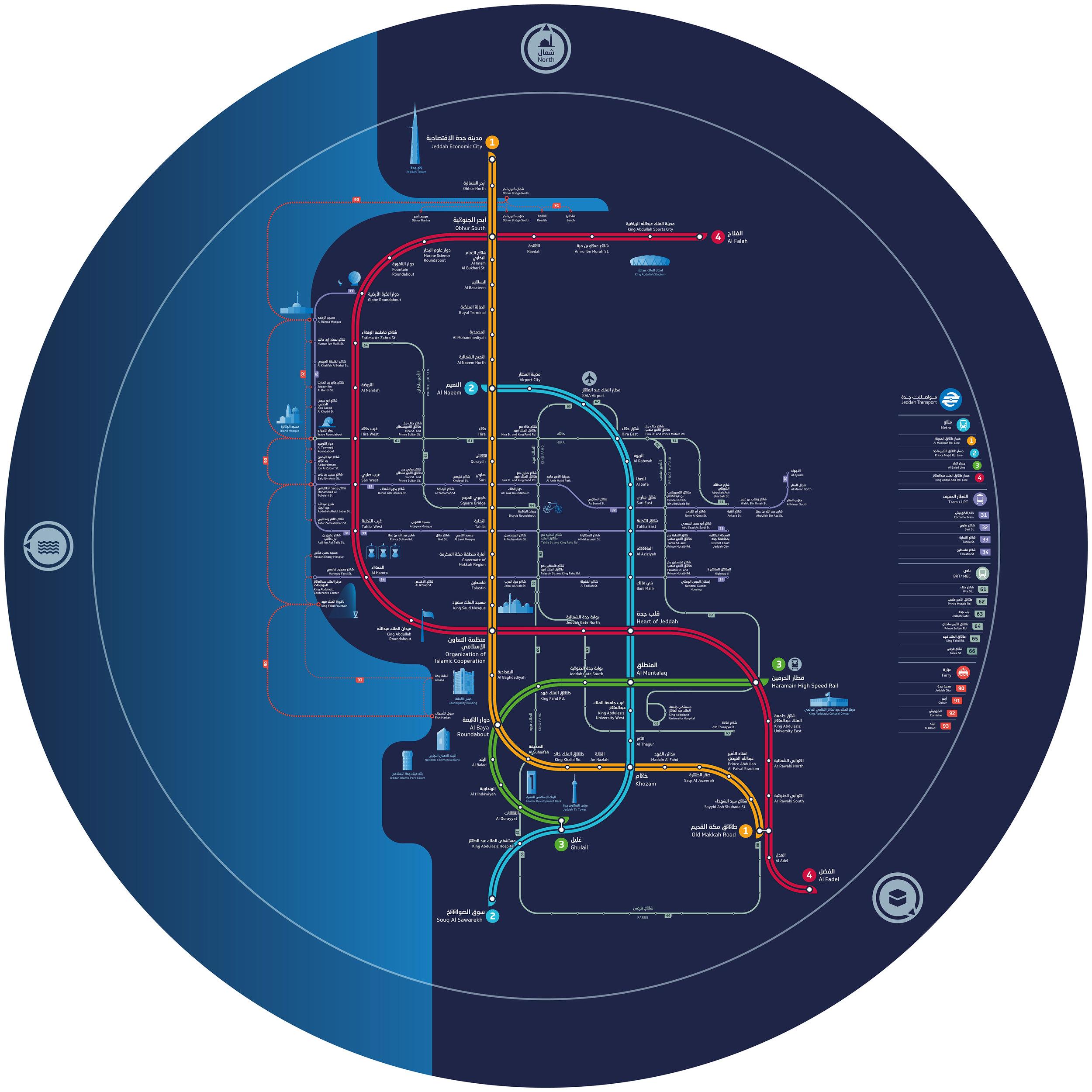Jeddah public transport schematic map