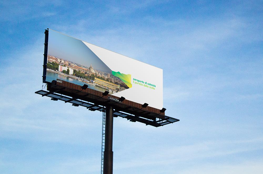 Billboard advertising the airport