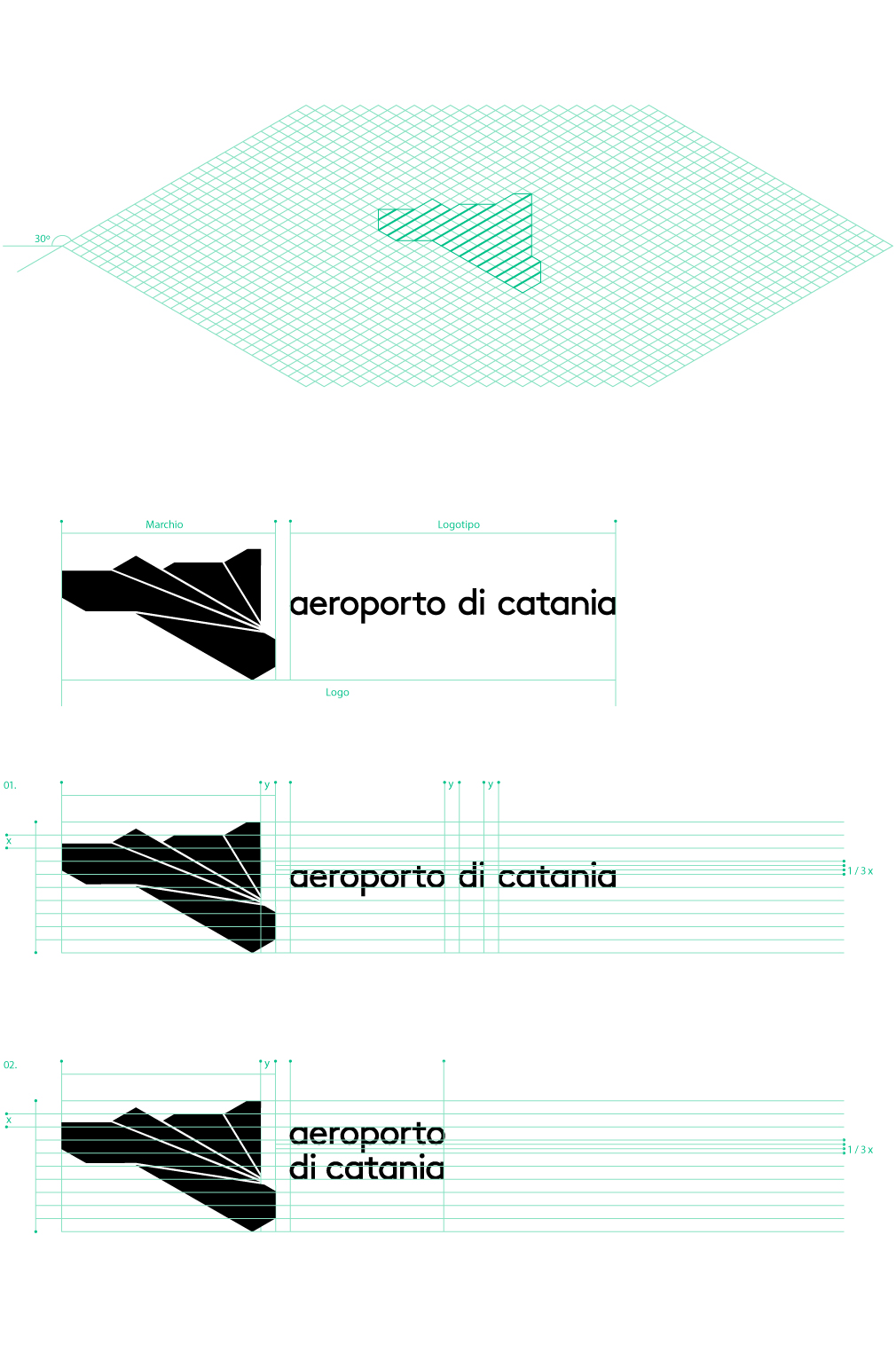 The logo is inspired by the shape of Catania as a travel destination. The angles are used in the pictograms and other brand applications.