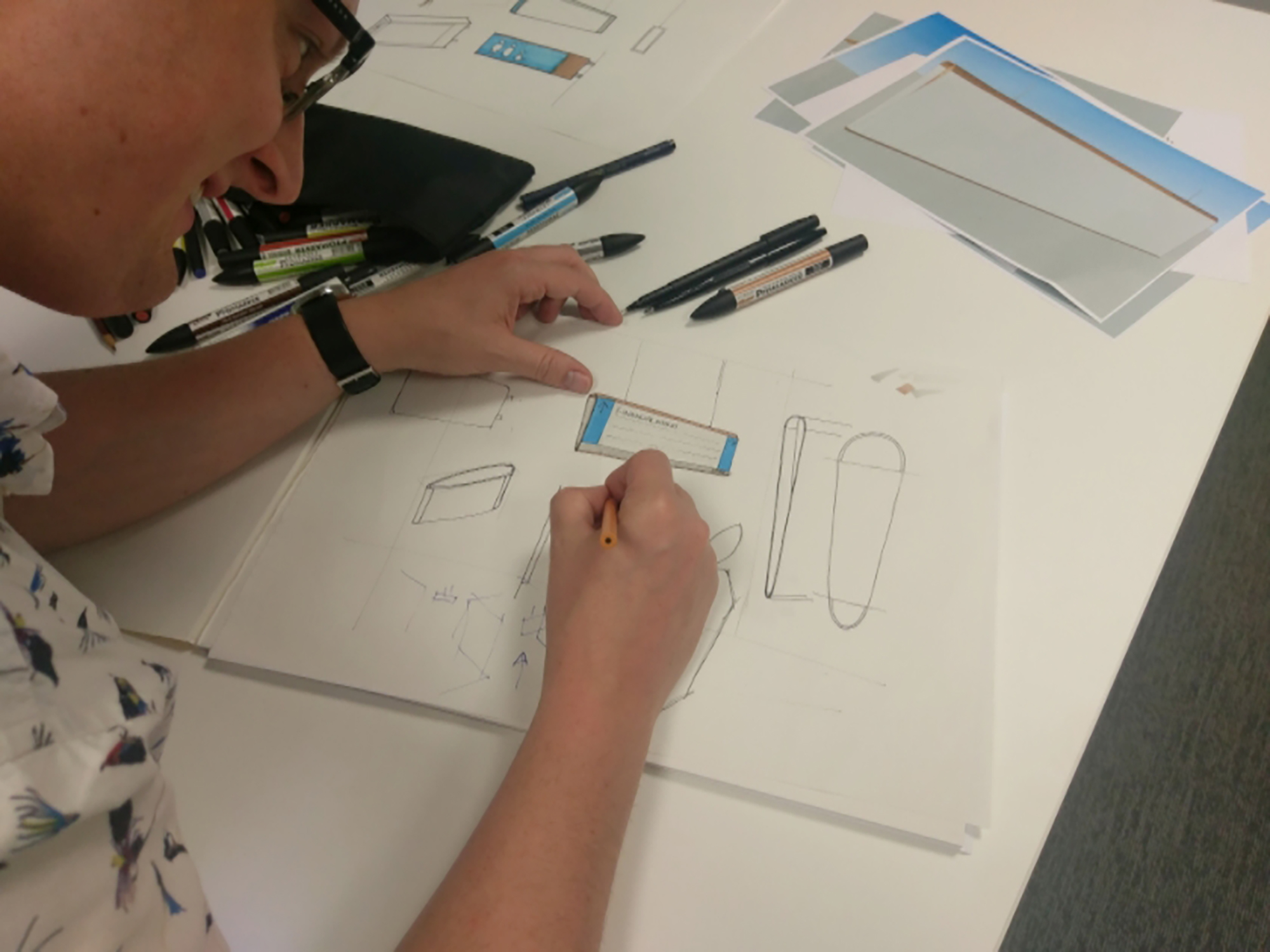 Sketches to develop the signage product in the early stages of the project
