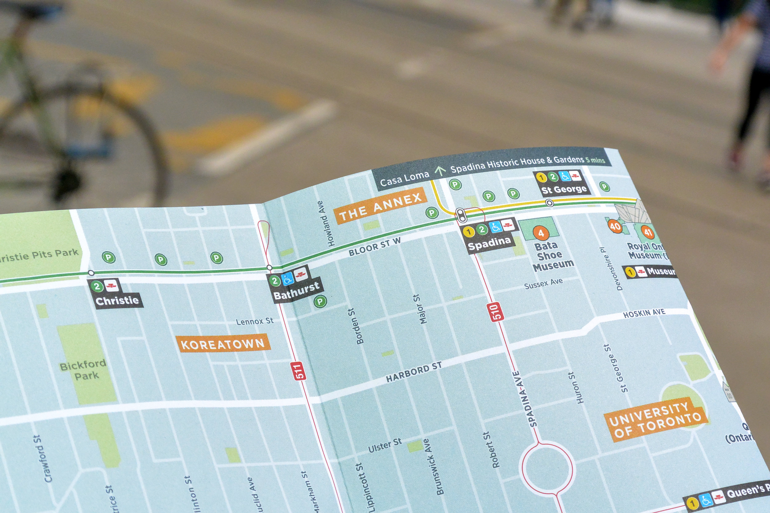 Detail of the Toronto TO360 visitor map design