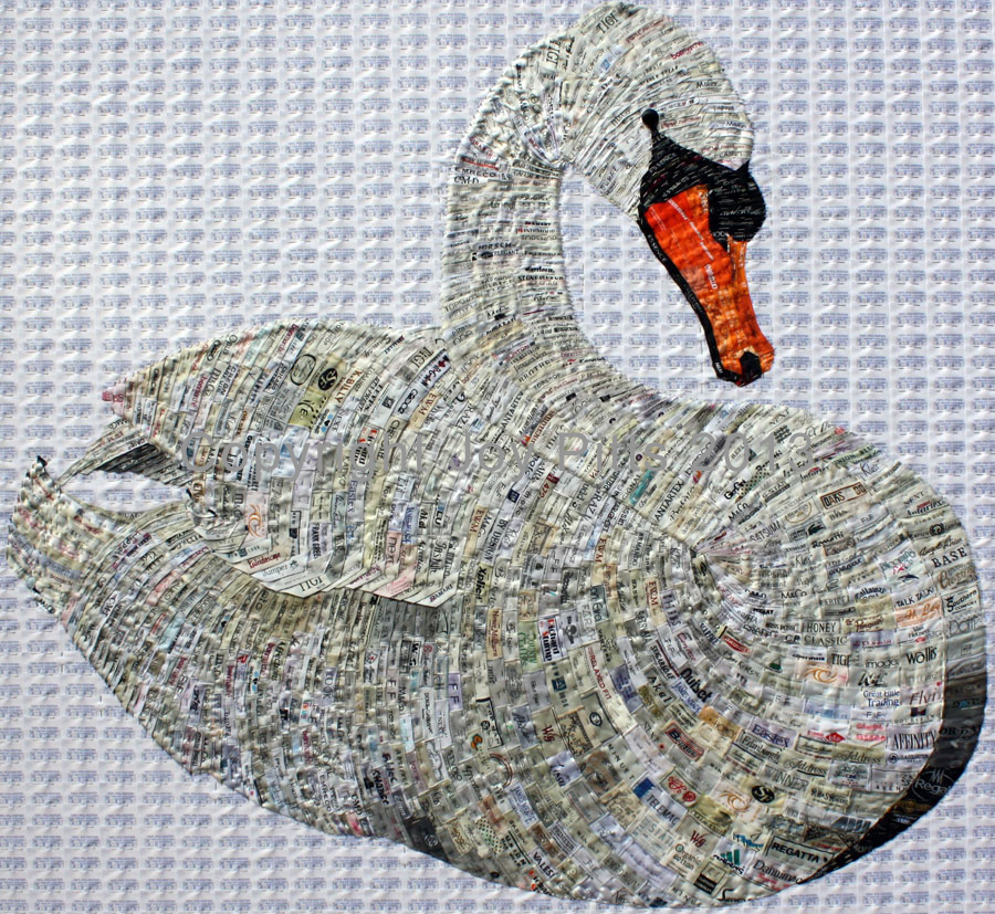 Mute Swan with 5000 used labels 120 x 120 cm