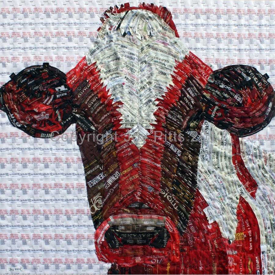 Joy Pitts Red Cow with clothing labels and pins..JPG