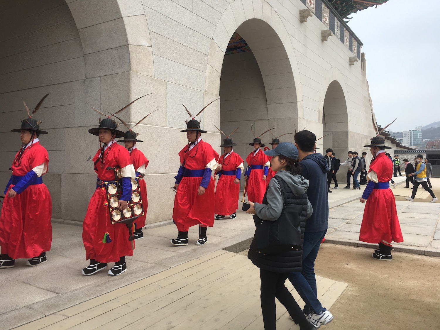Guards of a palace on their routine patrol