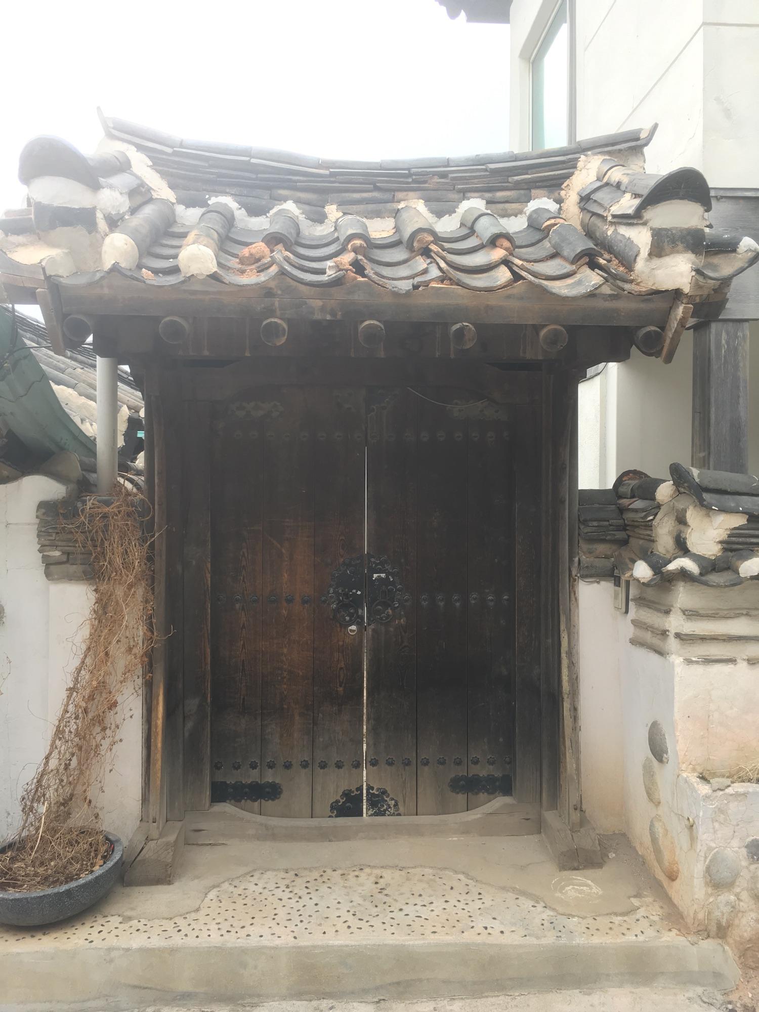 Door in Bukchon Hanok Village, over 600 years old