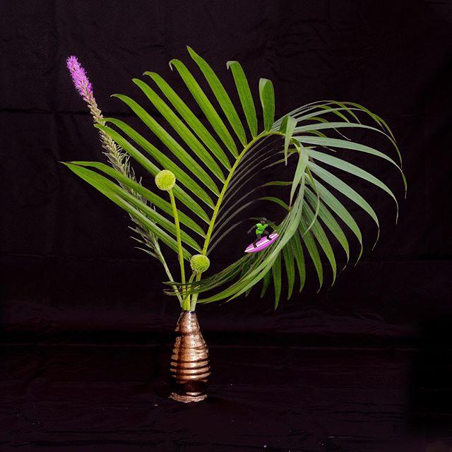 🏄♀️ #ikebana #いけばな #生け花 #アレカヤシ #dypsislutescens #珍しい #ガーベラ #gerbera  #金理有 #草月流 #flowerarrengement