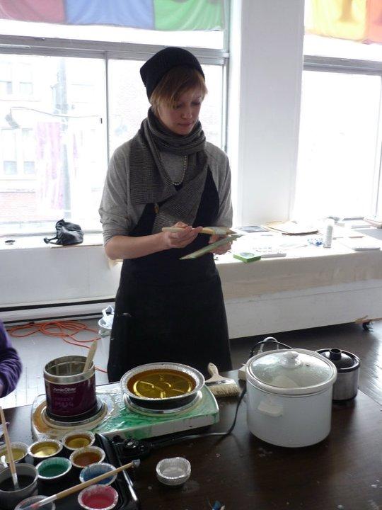Ashley at work at an encaustic workshop