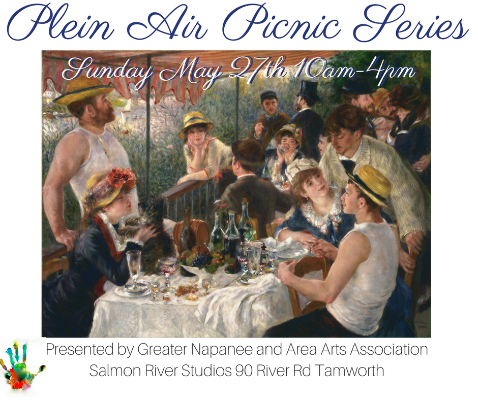 Plein Air Picnic! Saturday May 27th 10am-4pm Join workshop facilitator Gabriel Deerman MFA of Salmon River Studios in a day of painting, printmaking & picnicking along the beautiful banks of the Salmon River! Friendly and professional pointers on painting techniques and a monotype demonstration after which materials will be provided for those who would like to try this simple, direct and painterly approach to printmaking. At mid day participants will enjoy a delicious picnic meal provided by The River Bakery (included in fee) and are encouraged to bring their own beverages of choice. This workshop will take place at Salmon River Studios (90 River Rd. Tamworth). $35 for GNAAA members $45 for non-members  email gabriel@salmonriverstudios.com for more info or to rsvp