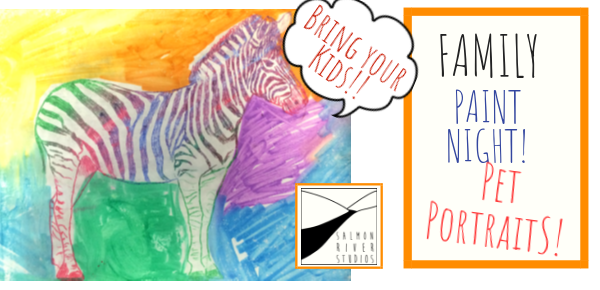 "Friday, November 30, 2018 at 5 PM – 7 PM  Bon Eco Studio 12 Concession St. N. Tamworth, On (Main St.)  Come to the first ever Family Paint Night with an evening of pet portraits! You provide 8""X10"" photocopys of your furry friends and Gabriel will provide all materials and instruction.  Paint Nights are $35 per parent/child pair +$10 per additional child  email gabriel@salmonriverstudios.com to reserve your spot and Gabriel will be in touch with further info and to confirm space availability- space is limited!"
