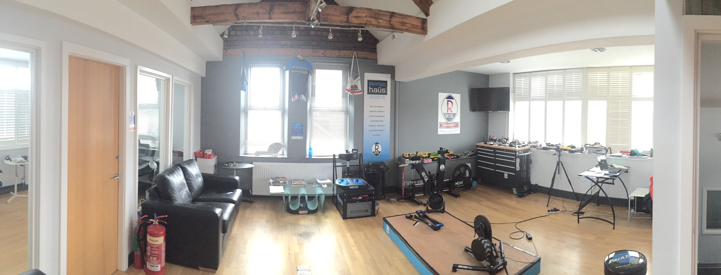 Bike fit studio and training space at Physiohaus, Newcastle.