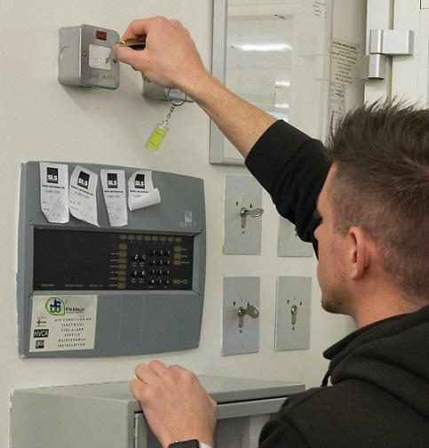 jcw engineer using fish key emergency lighting