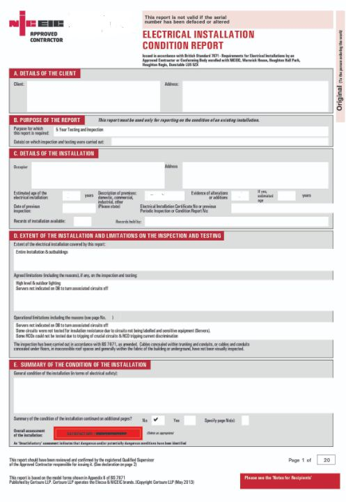 Example EICR Report