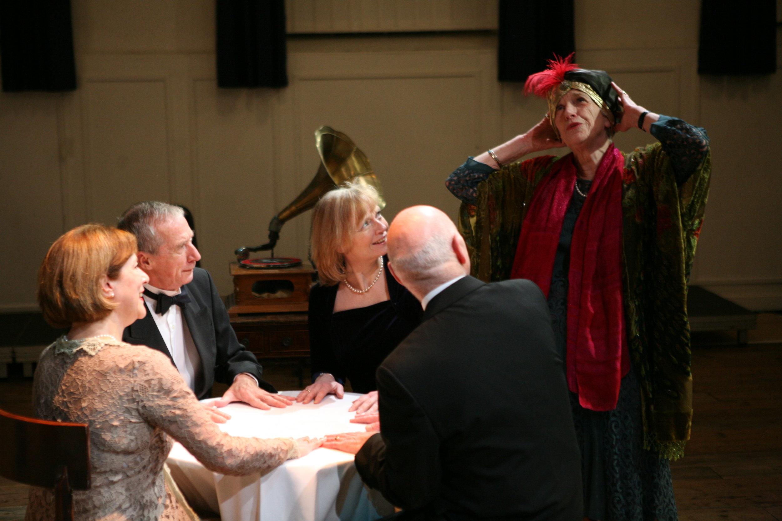 From left - Kay Francksen as Mrs Bradman, David Gosling as Dr Bradman, Barbara Ingledew as Ruth, Joanna Bowman as Madame Arcati and Lewis Cowen as Charles.JPG