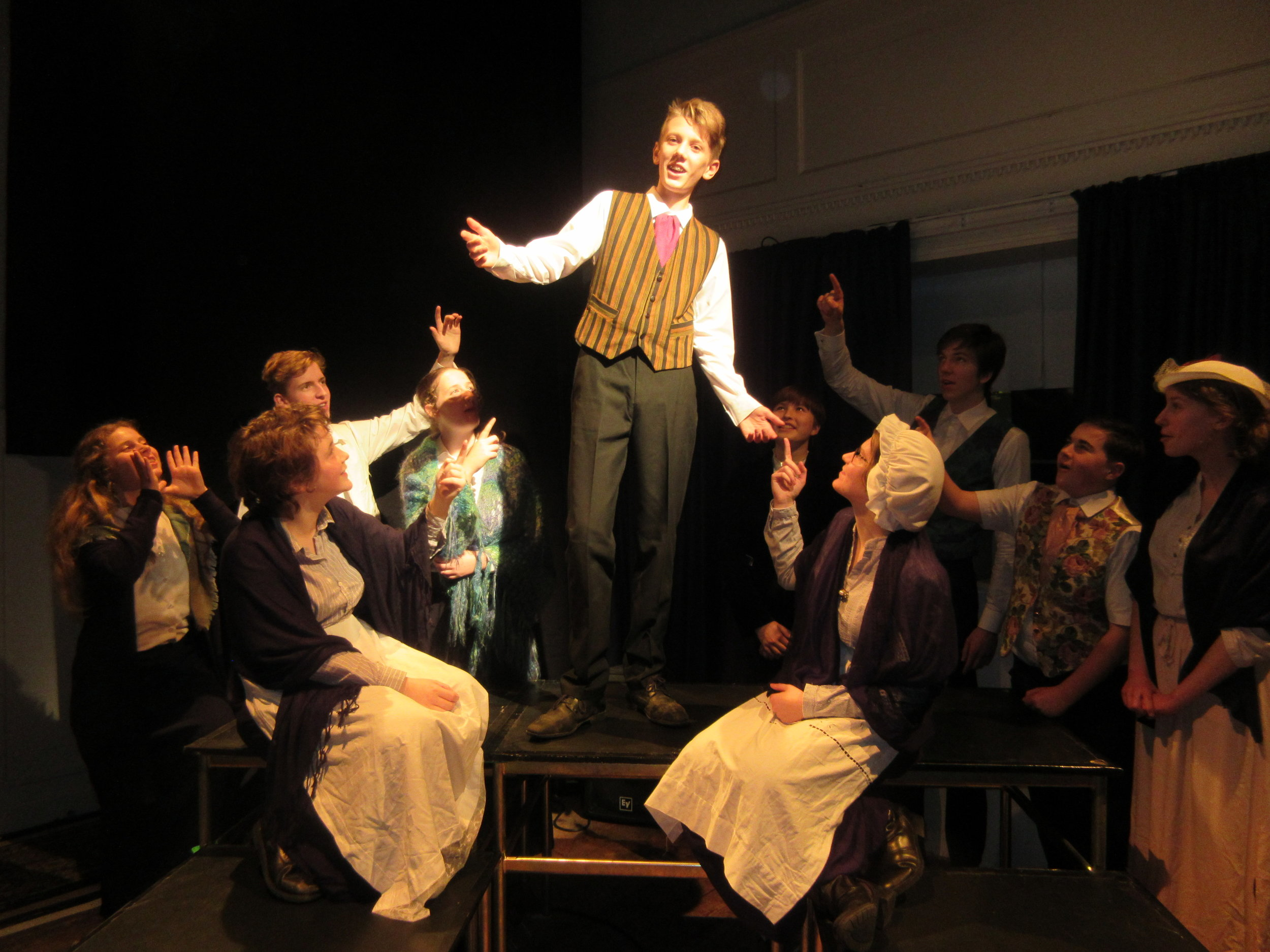 Ralph Leming as Wopsle with members of the company.JPG