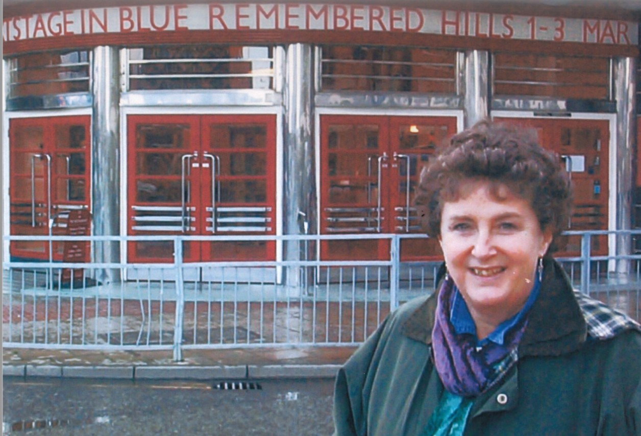Artistic Director Ann Ellison in front of SJT on the opening of Blue Remembered Hills (2001)