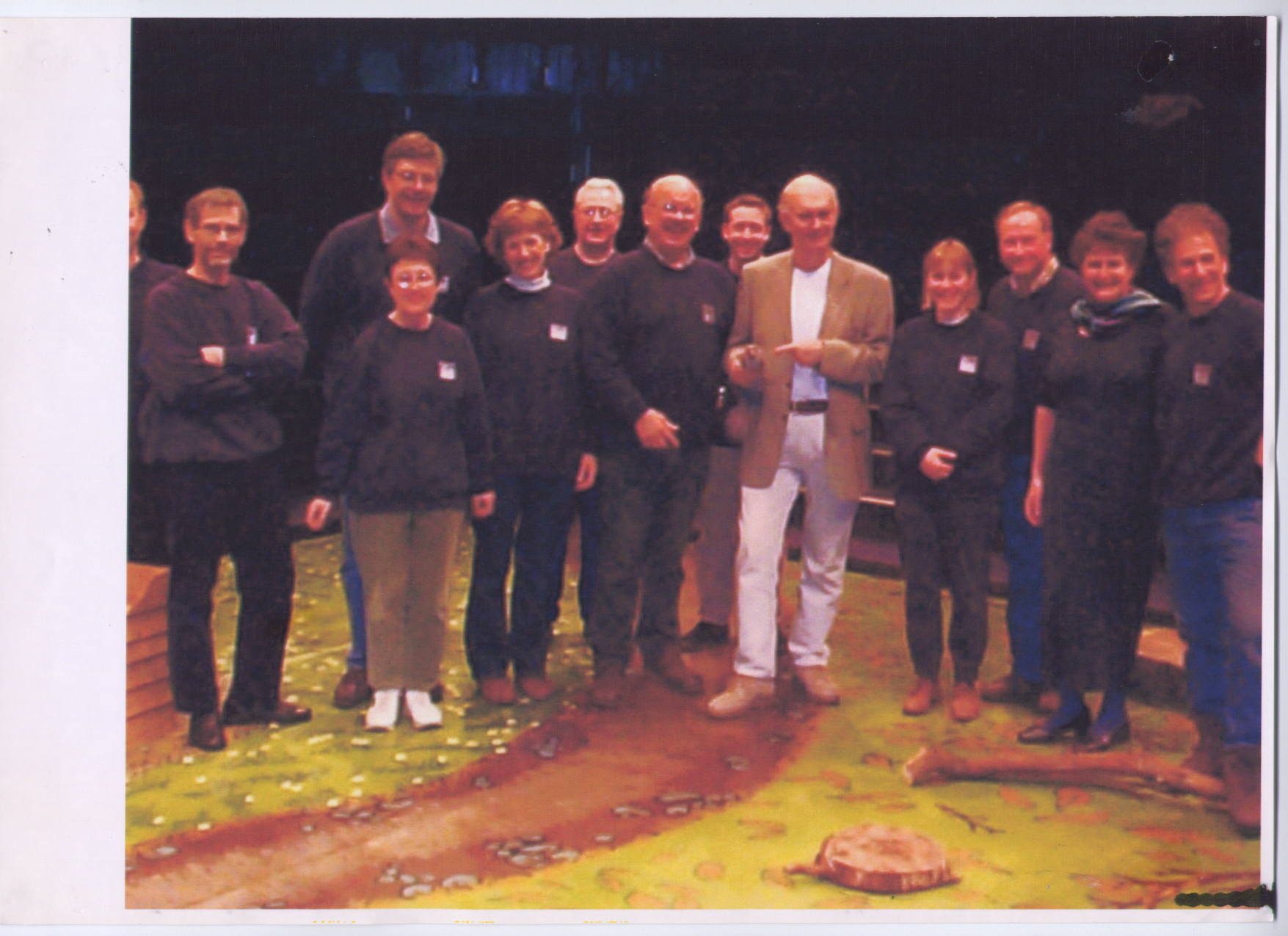 The cast and crew of Blue Remembered Hills (2001) on set with Sir Alan Ayckbourn