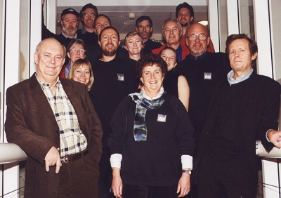 Artistic Director, Ann Ellison and members of Next Stage with Alan Ayckbourn and David Hare in Scarborough (1999)