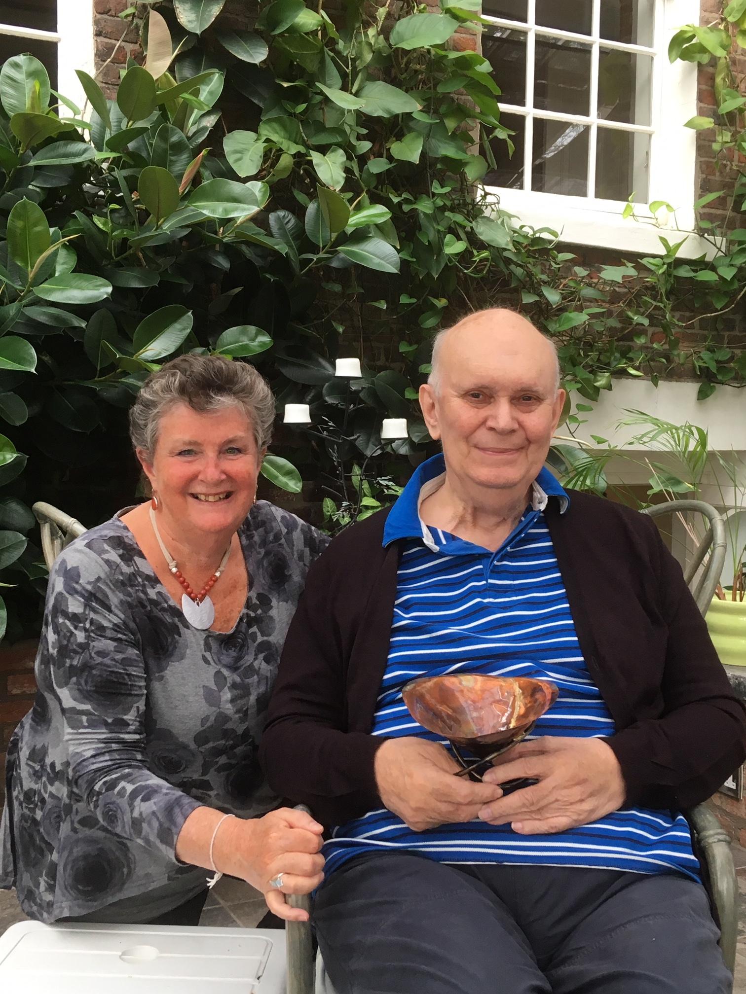 Ann Ellison with sir alan ayckbourn May 2019