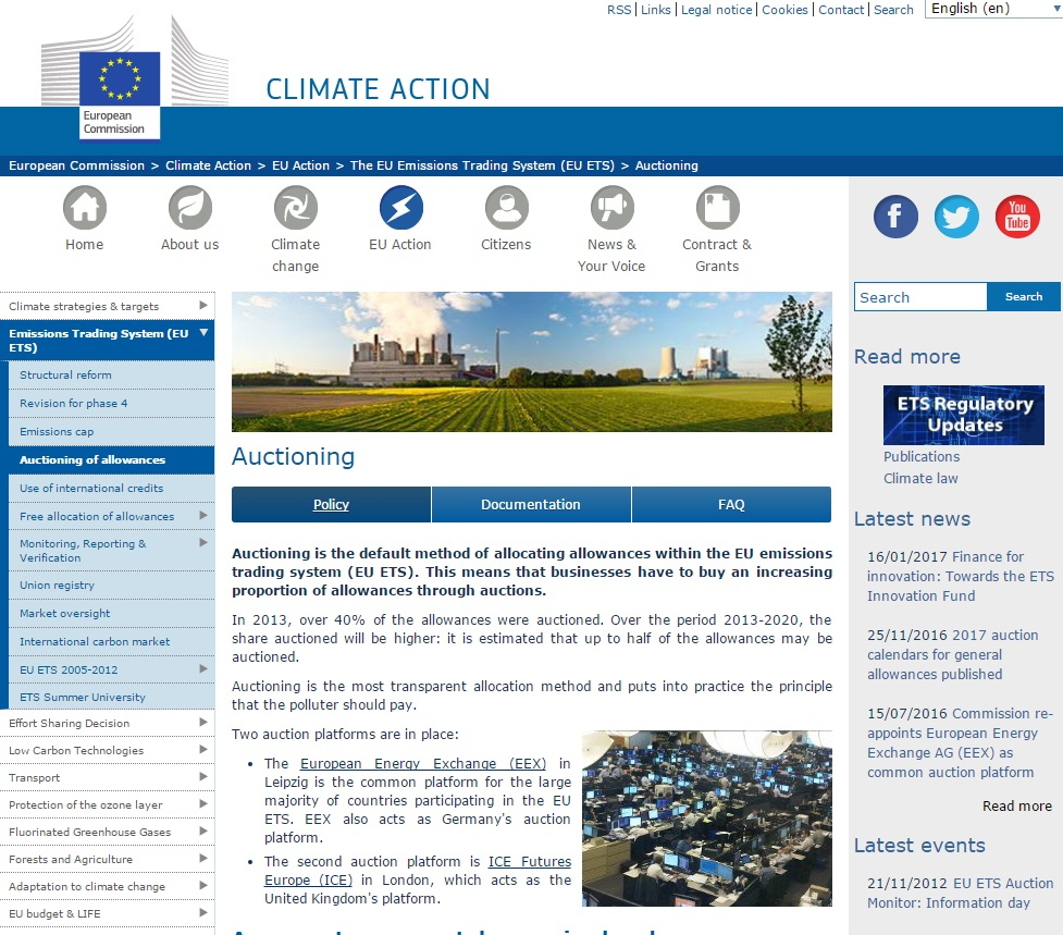 European Commission overview of auctioning emissions allowances
