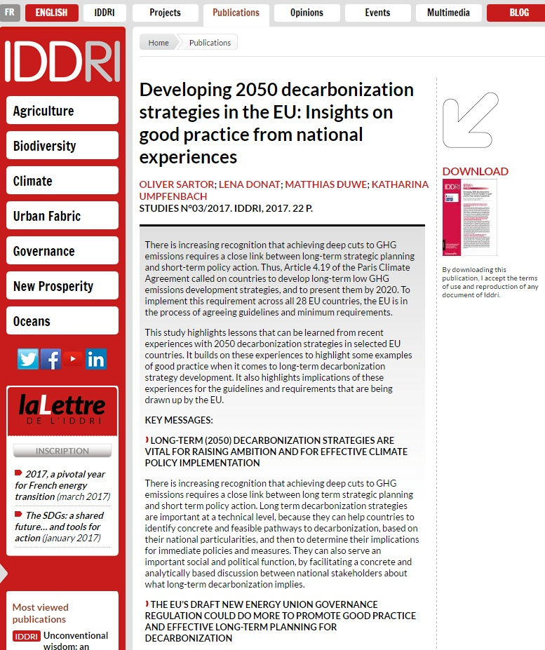 IDDRI and Ecologic report: Developing 2050 decarbonization strategies in the EU: Insights on good practice from national experiences (February 2017)