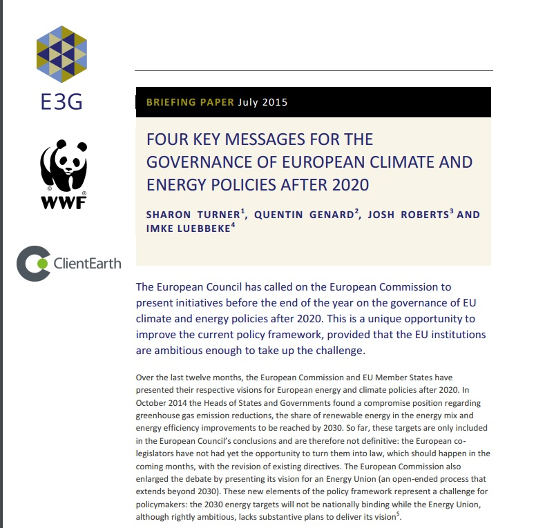 Joint NGO briefing on the governance of European climate and energy policies after 2020 (July 2015)