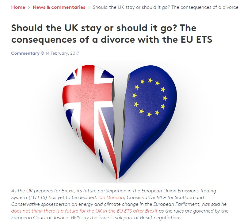 London School of Economics article - Should the UK stay or should it go? The consequences of a divorce with the EU ETS (February 2017)