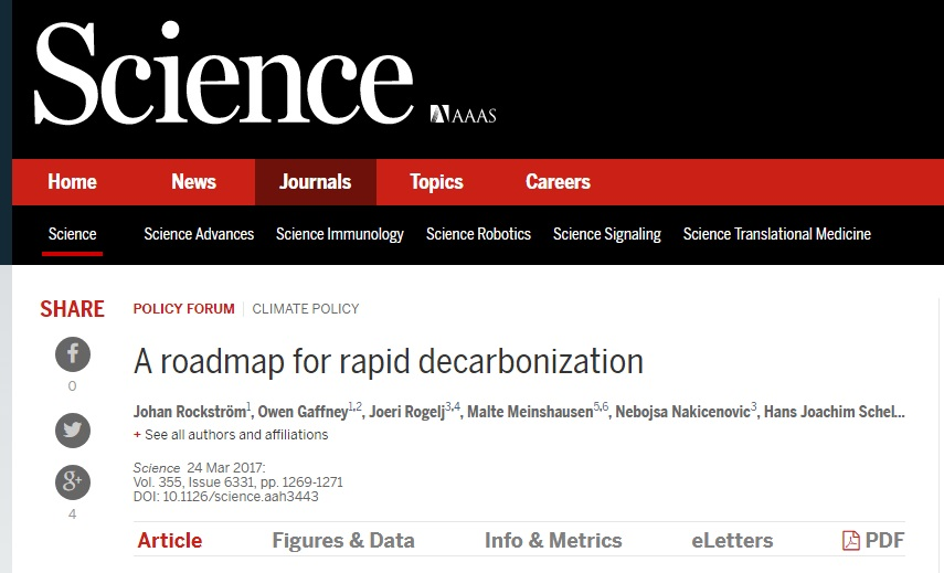 Science article - A roadmap for rapid decarbonization (March 2017)