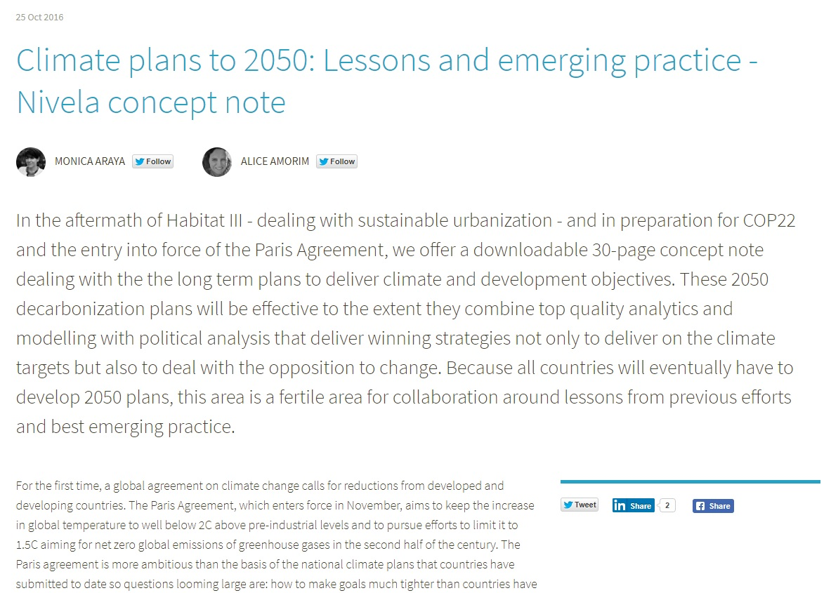Araya, M & Amorim, A – Nivela Discussion Paper: Climate and development plans to 2050: Lessons and emerging best-practice (2016)