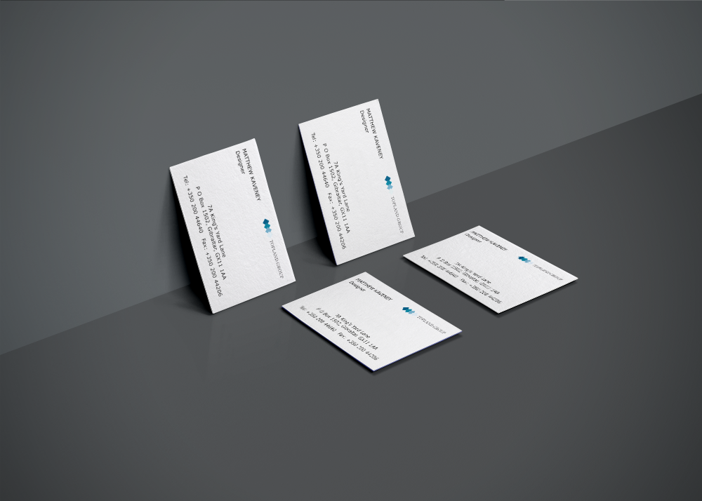 Branding for Topland shown on business card. the cards are on high gsm stock with a matt laminate.