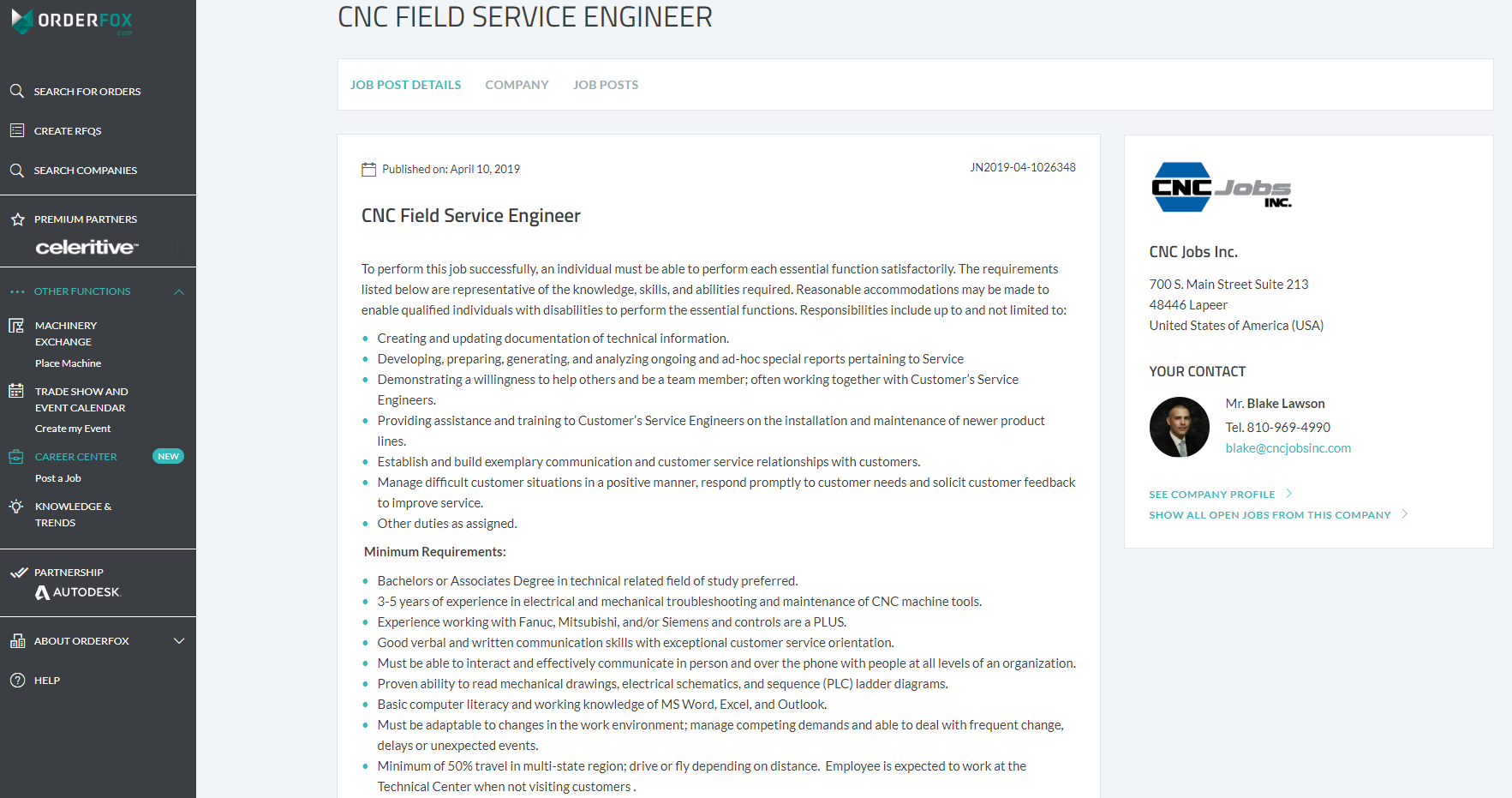 One of 100's of available U.S. specific job opportunities posted by CNC Jobs Inc. within the New ORDERFOX.com Career Center.