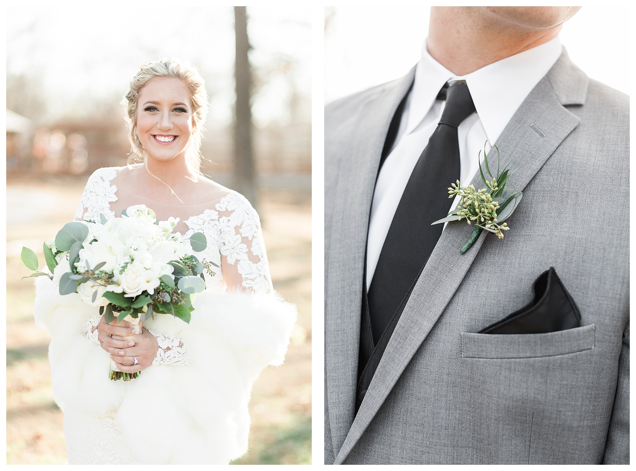 I was so happy that McKenna and Justin's January wedding day was warm and sunny! Mckenna looked stunning in her lacey sleeve wedding gown and fuax fur wrap. Love It! #thebarnatthesprings #arkansaswedding #winterweddig #photolove