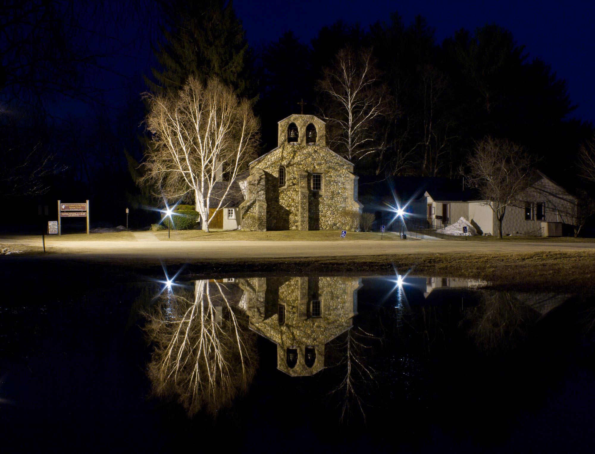 St. Andrews Church reflection at night, Tamworth, NH