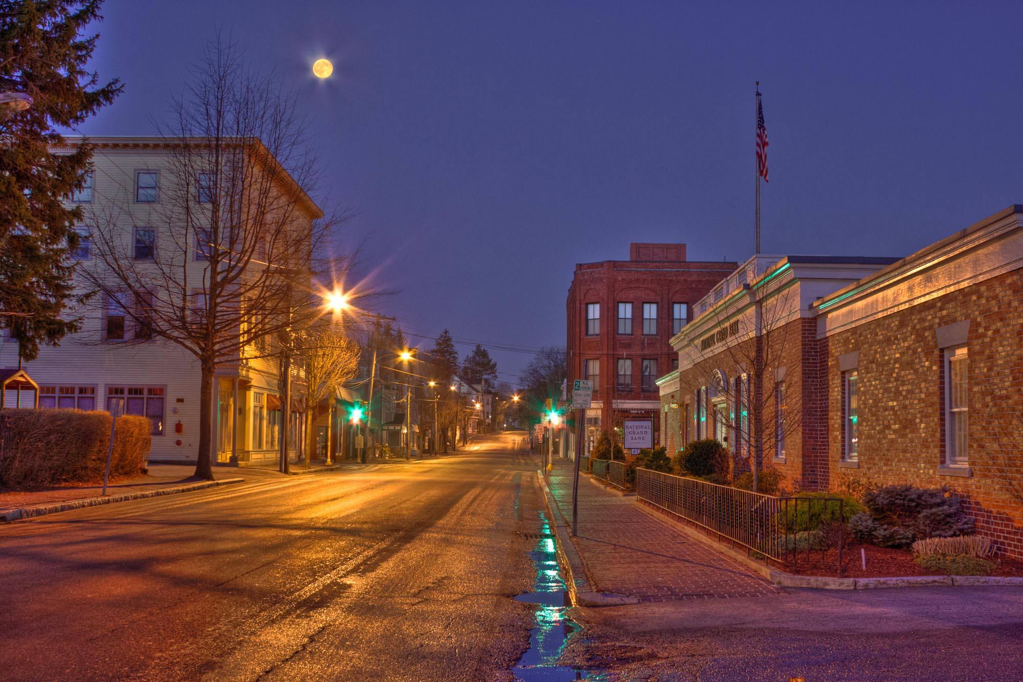 A rare, car-free look up Pleasant Street during full moon