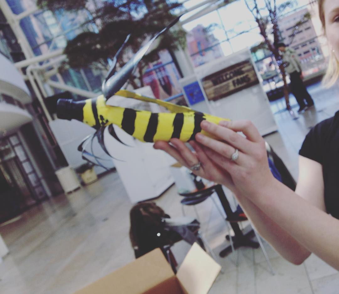 Hanging bee art at the Indy Artsgarden today for @savethebeesin. #savethebeesIN  (at Indianapolis Artsgarden)