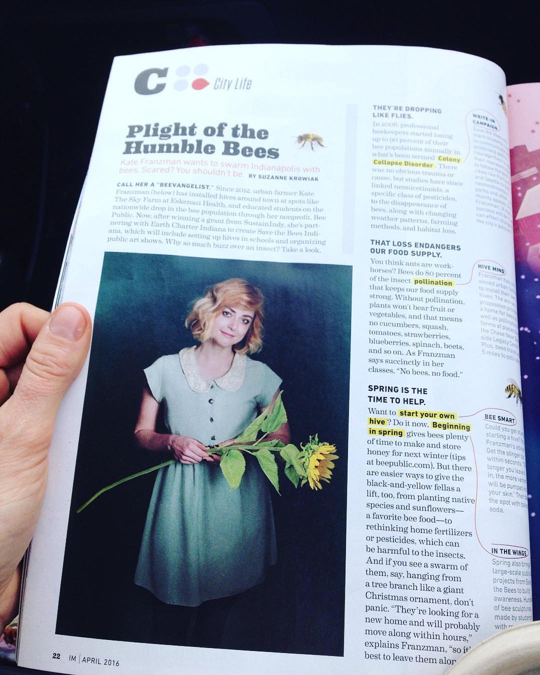 Hi! Check out the April issue of @indymonthly! 🐝