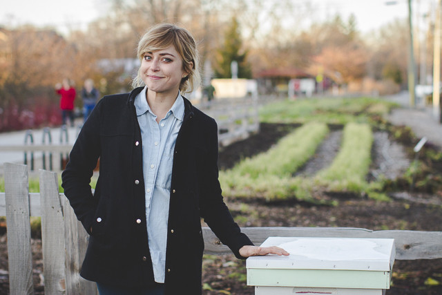 """I was recently interviewed by Joe Dudeck about my segue from the ad world to the ag world and beyond. You can read the whole thing  here .   An excerpt:   Joe: So then tell me about your segue into farming.  Kate: I applied for an apprenticeship with Growing Places Indy, who does an apprenticeship program every summer, and I felt, """"What a great way to transition into something."""" Because of Bee Public, I was already starting to create these relationships with urban farmers. We have, within the city, four or five different farms, and I wanted to put beehives on their farms. I didn't have a yard or a balcony, and it made sense to me to put a beehive where your food is so they can help pollinate it. The connection's clear.  Joe: Did the farmers get the connection?  Kate: Some did. A lot of farmers are way too busy to even think about that. Planting flowers is an easy way to attract pollinators that are already in the area. So that was how I approached it. """"Let me manage the bees. It's free for you. I really believe in providing this service for free to you. I don't want to charge you to put a beehive here.""""  And that was the first time I realized I'm a terrible business person.  Joe: Yeah, how do you make money off this?  Kate: There are other beekeepers, obviously, who make their living off of selling honey. I got into it and was like, """"I don't want to charge people to set up the beehive. I don't want to harvest and sell honey. How am I going to maintain this project?"""" I had all kinds of people telling me, """"You're a dummy. You need to harvest and sell honey. How else are you going to maintain what you're doing?"""" I just kept thinking, """"No. It doesn't feel right to me.""""  Bees make honey for themselves. Not everybody knows that fact…that bees eat honey. They actually work themselves to death to make this honey for their hive, which is a super organism. Eighty-thousand bees in a hive are working to make honey to get through a winter that none of them have ever experienced """