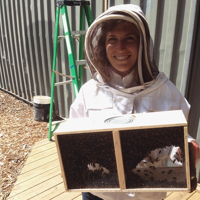 Intern Brittany just before installing her very first hive. #beepublic #beekeeping (at Chase Near Eastside Legacy Center)