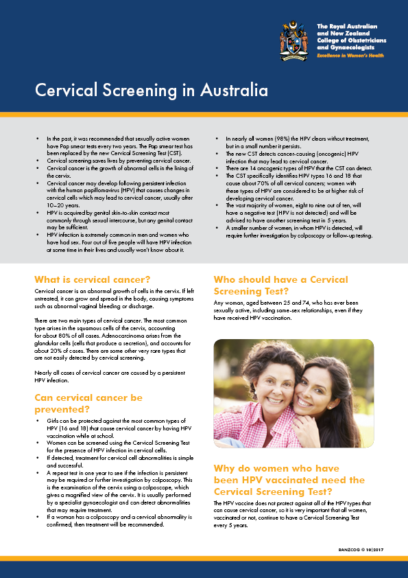 Cervical Screening in Australia