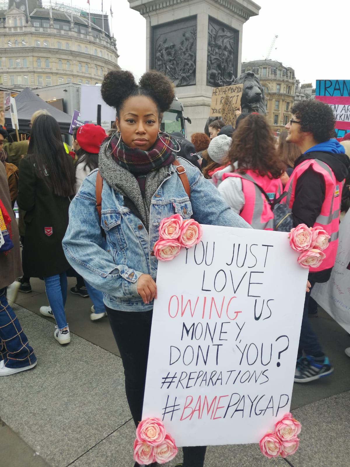 """""""It's my second time attending the Women's march and I'm glad to see a lot more diversity than last year and in versus in terms of diverse causes as well. This march is to let people know what's wrong at the moment, we still have inequality here and issues with the Bame pay gap; black women are the least payout of everyone when they graduate. There still problems just because you see us in the train doesn't mean we're happy in content right now"""""""