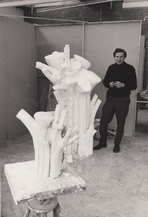 Tower in Sculpture Studio, Brighton Polytechnic with Sculpture I, made of plaster and fibreglass in 1971 from a terracotta maquette of 1965
